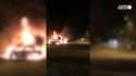 Une voiture en feu à Quimper