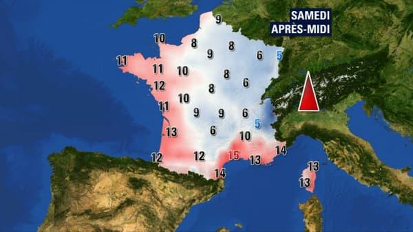 Les températures prévues pour samedi après-midi.