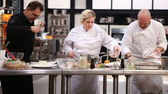 """Michel Sarran, Hélène Darroze et Philippe Etchebest, les chefs de """"Top chef"""" sur M6."""