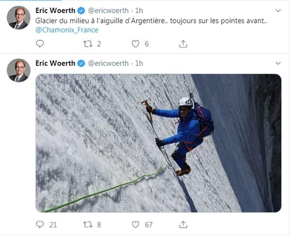 Eric Woerth moqué sur Twitter après avoir posté une photo d'escalade