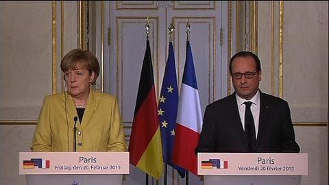 """Ukraine: Hollande et Merkel veulent l'application de """"tous les accords de Minsk, rien que les accords de Minsk"""""""