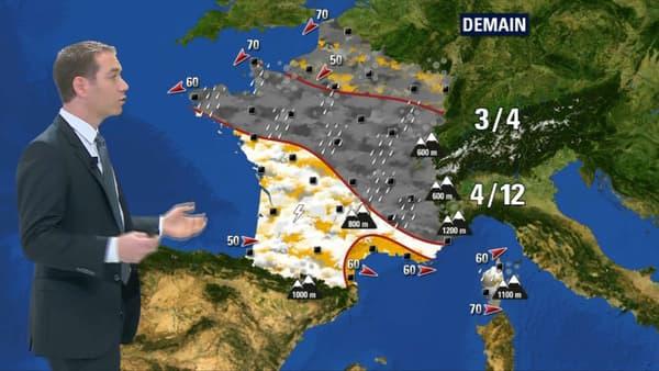 Le temps samedi couvrira une bonne partie de la France de pluie.
