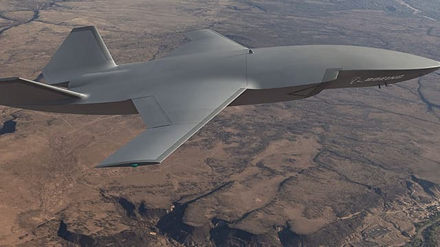 La division défense de Boeing a dévoilé cet avion de chasse sans pilote à bord