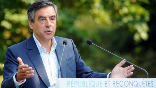 François Fillon lors de son discours de Rouez-en-Champagne (Sarthe), ce mercredi 28 août.