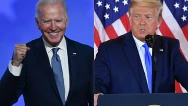 Joe Biden à Wilmington, dans le Delaware, et le président Donald Trump à la Maison Blanche, s'expriment lors de la nuit électorale du 3 au 4 novembre 2020