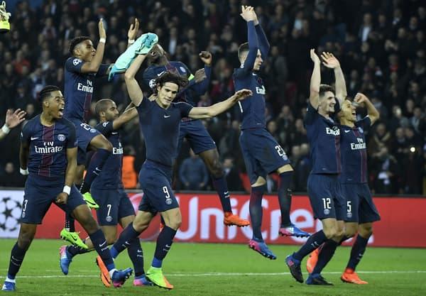 La joie des Parisiens après leur succès face au Barça en 2017