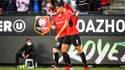 Aguerd après son but lors de Rennes-Rosenborg