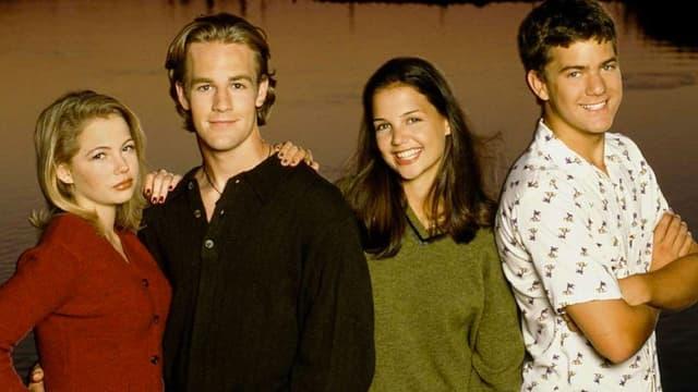 """Michelle Williams, James Van Der Beek, Katie Holmes et Joshua Jackson dans """"Dawson"""""""