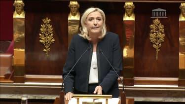 Marine Le Pen à l'Assemblée nationale ce lundi.