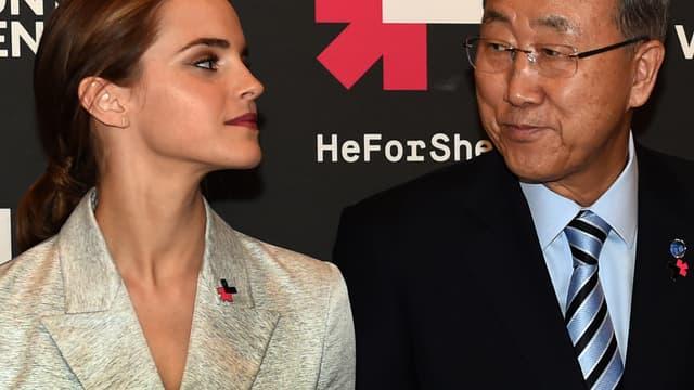 Emma Watson, ambassadrice de bonne volonté d'ONU et Ban Ki Moon, secrétaire général de l'ONU, à New York, le 20 septembre 2014.