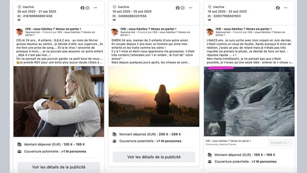Capture d'écran de la bibliothèque publicitaire de Facebook