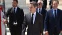 Nicolas Sarkozy, accompagné de Luc Chatel, à Rabat, au Maroc, le 22 juin.