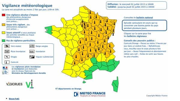 47 départements sont désormais placés en vigilance orange canicule par Météo France.