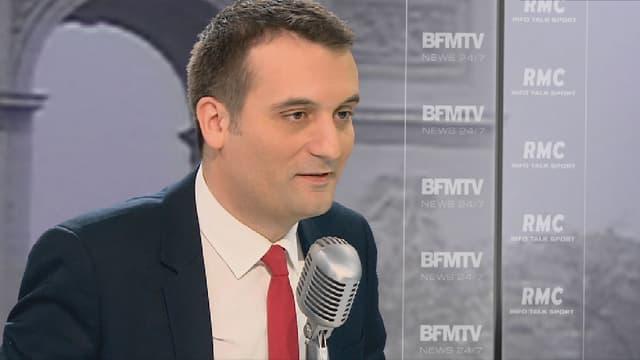 Le vice-président du FN, Florian Philippot, était l'invité de Jean-Jacques Bourdin ce lundi à 8h35 sur BFMTV et RMC.