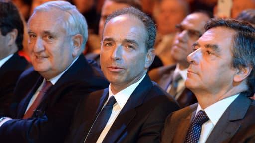 Jean-Pierre Raffarin, Jean-François Copé et François Fillon samedi 25 janvier au Conseil national de l'UMP