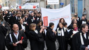 Manifestation d'avocats à Douai dans le Nord
