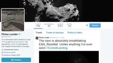 Le premier message du robot Philae une fois arrivé sur la comète, n'a échappé à personne, et pour cause, c'était un tweet!