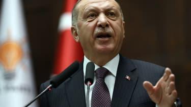 Le président turc Recep Tayyip Erdogan à une réunion de son groupe parlementaire à l'Assemblée, à Ankara, le 19 novembre 2019