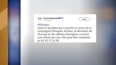 Le ministère des Affaires étrangères a ouvert un numéro pour donner des informations sur le crash d'Ethiopian Airlines.