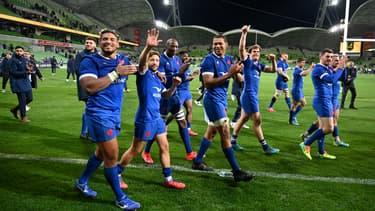 La joie des Bleus après leur victoire en Australie