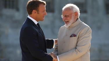 Le président français Emmanuel Macron et le Premier ministre indien Narendra Modi