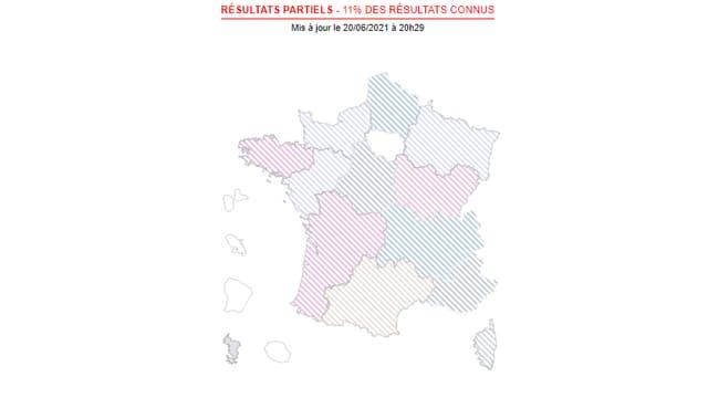La carte des résultats des élections régionales.