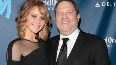 Jennifer Lawrence et Harvey Weinstein en 2013 à Los Angeles.
