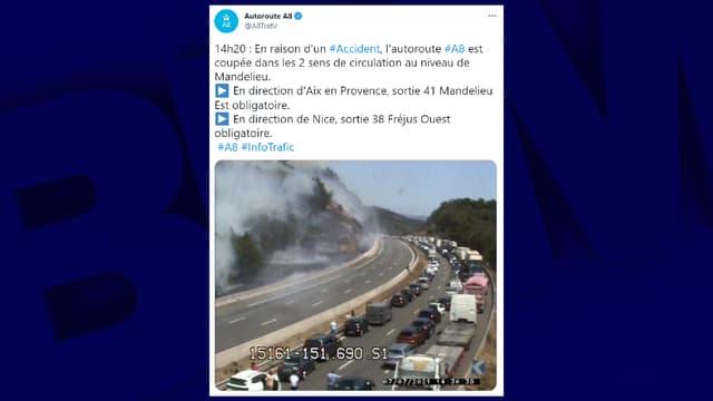Un accident s'est produit sur l'A8.