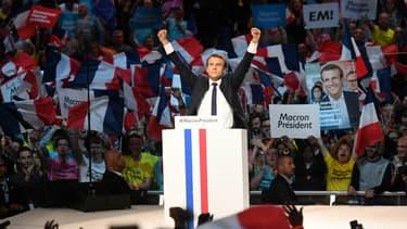 Emmanuel Macron en meeting à Bercy