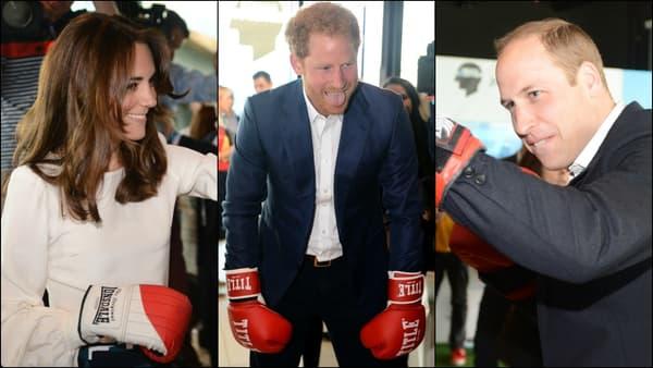 Kate Middleton, Harry et William boxent à Londres le 16 mai 2016.