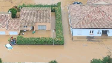 Vue aérienne d'un lotissement de Villeneuve-les-Béziers, dans l'Hérault, ce mercredi.