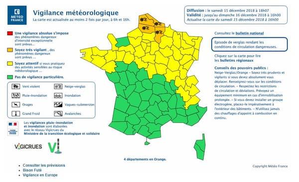 Les départements concernés par l'alerte