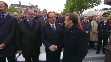 Emmanuel Macron et François Hollande aux cérémonies du 8-Mai.