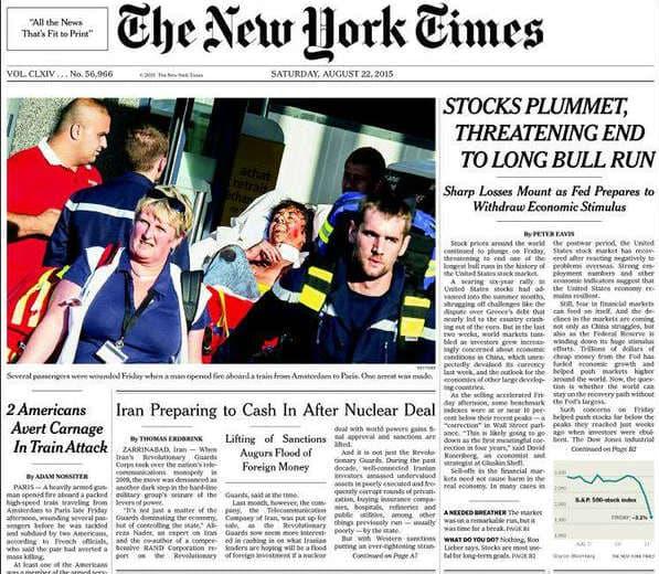 La une du New York Times du 22 août 2015.