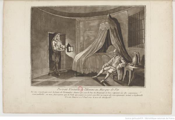 Représentation du prisonnier connu comme l'homme au masque de fer.