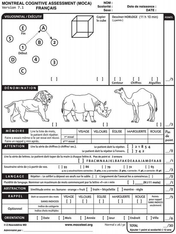 Le test cognitif MoCA, passé par Donald Trump.