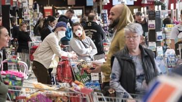 Photo prise le 16 mars dans un supermarché à Pfastatt (Haut-Rhin)