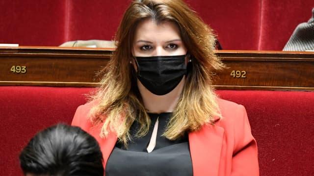 La ministre déléguée à la citoyenneté Marlène Schiappa le 30 mars 2021 à l'Assemblée nationale à Paris