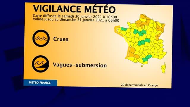 L'alerte Météo France, samedi 30 janvier 2021