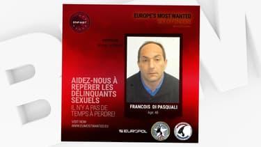"""Europol diffuse, le 27 octobre 2020, la photo de François Di Pasquali, listé parmi """"les fugitifs les plus recherchés d'Europe""""."""