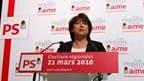 Le premier secrétaire du Parti socialiste, Martine Aubry. La gauche a infligé une sévère défaite à la droite au second tour des élections régionales sans toutefois lui ravir son bastion historique, l'Alsace. L'opposition engrange 54,15% des voix contre 35