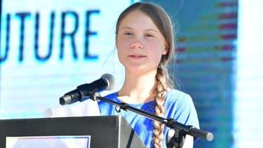 La militante Greta Thunberg assiste à une manifestation sur le climat à Los Angeles, le 1er novembre 2019