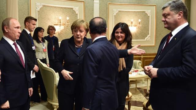 François Hollande, Angela Merkel, Vladimir Poutine et Petro Porochenko, à Minsk.