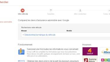 La page d'accueil du comparateur d'assurance auto de Google;