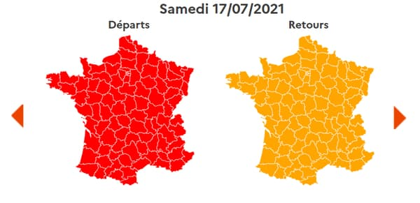 Un samedi difficile sur les routes de France, avec du rouge dans le sens des départs et de l'orange dans le sens des retours.