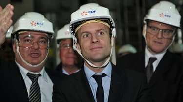 Emmanuel Macron en visite dans une usine nucléaire en mars dernier.