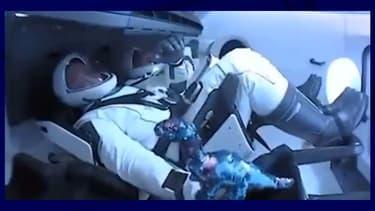 Le dinosaure à bord de la capsule Crew Dragon