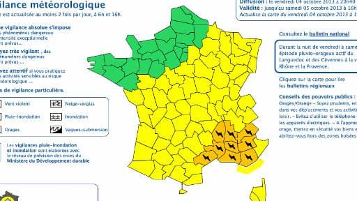 L'alerte concerne le Gard, l'Hérault, l'Ardèche, les Bouches-du-Rhône, la Drôme, les Hautes-Alpes, les Alpes de Haute Provence, le Var et le Vaucluse
