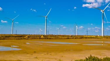 Un parc éolien chinois situé dans la banlieue de Dongying