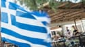 Drapeau grec flottant à la terrasse d'un restaurant, le 12 juillet sur l'île de Salamina, près d'Athènes.